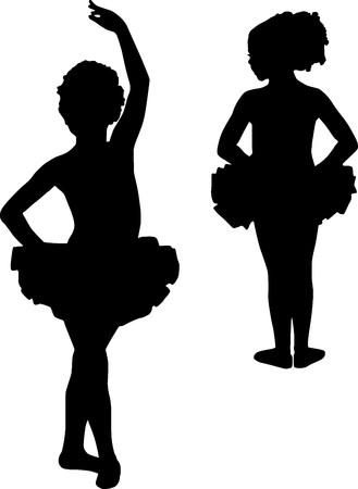 ballet cl�sico: Bailarinas de silueta feliz Foto de archivo