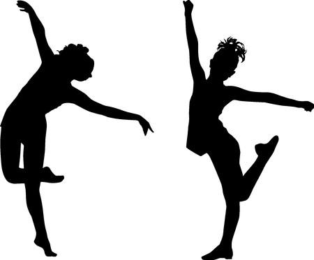 bailarinas: Ni�os de danza de silueta Foto de archivo