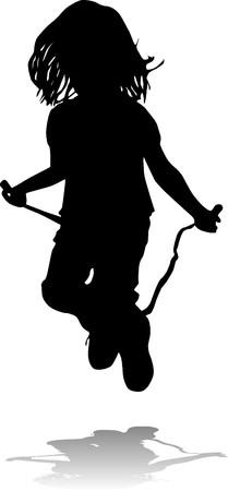 saltar la cuerda: Ni�a peque�a saltando