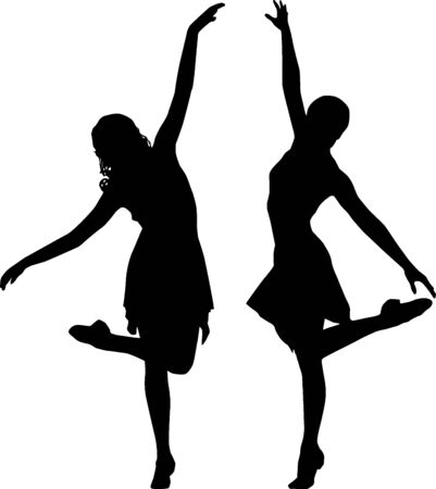 Silhouette women dance photo