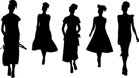 craze: Silhouette fashion girls Stock Photo