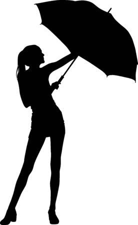 Silhouette girl whit umbrella photo