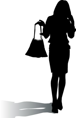 Silhouette woman with elegance handbag photo