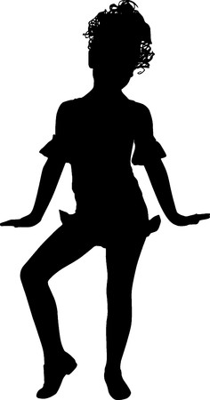 Happy silhouette smaall girl