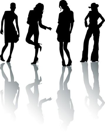 fad: Silhouette fashion girls Stock Photo