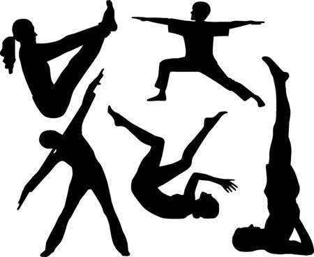 Siluetas de atletas  Foto de archivo - 6936969