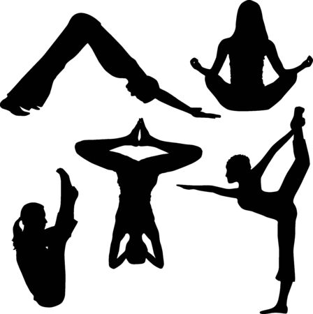 Silhouette of yoga Stock Photo - 6937591
