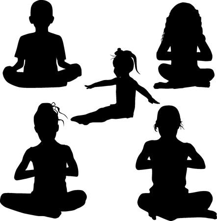 Silhouette childs yoga photo