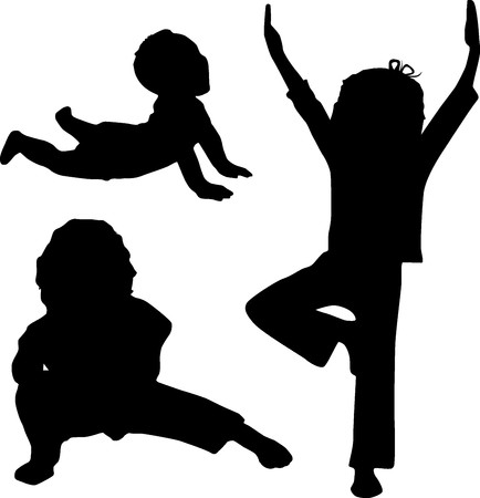 Silhouette of children who play yoga Stock Photo - 6936966