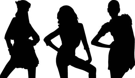 Silhouette fashion girls Stock Vector - 9374011