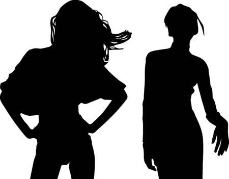 Silhouette fashion girls Stock Vector - 9374007