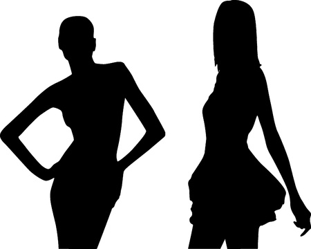 Silhouette fashion girls Vector