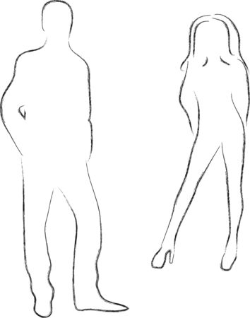 Silhouettes of male and female