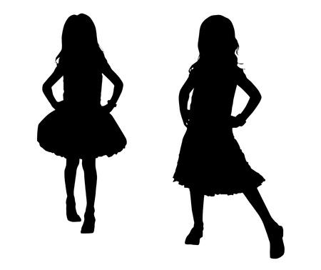 fashion silhouette: Silhouette happy children Illustration