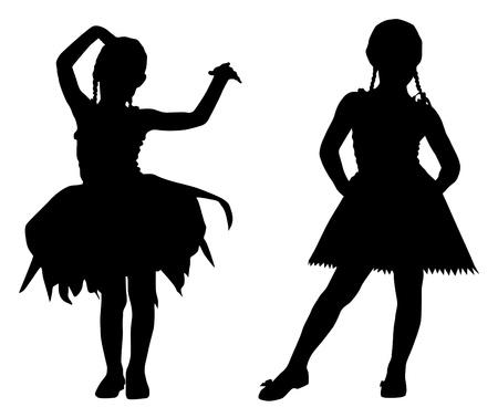 ballerina silhouette: Small ballerinas Illustration