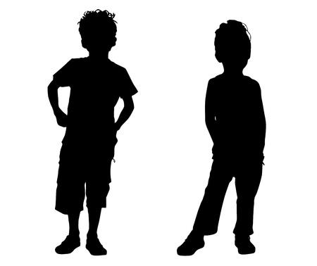 kind silhouet: Silhouet kleine vrienden Stock Illustratie
