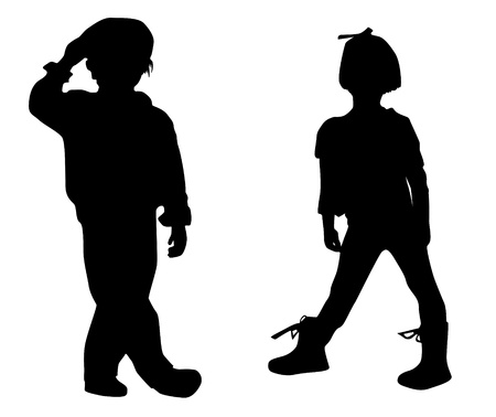 Silhouette happy children Vector