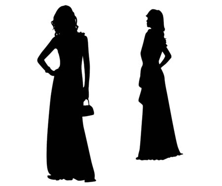 Fashion Silhouettes of girls Vector