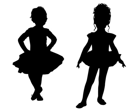 silhouette dancer: Las peque�as bailarinas Vectores