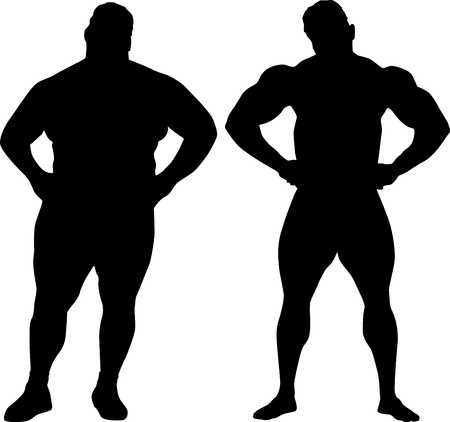 fat person: Silhouettes of bodybuilder and fat man