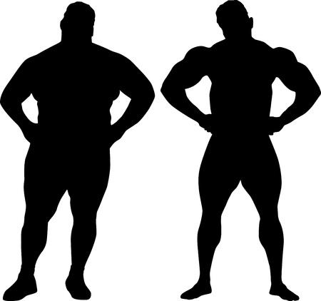 obeso: Silhuetas de fisiculturista e homem gordo