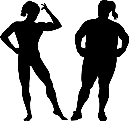 fat person: Silhouettes of bodybuilder and fat woman