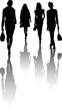 craze: Silhouette fashion girls Illustration