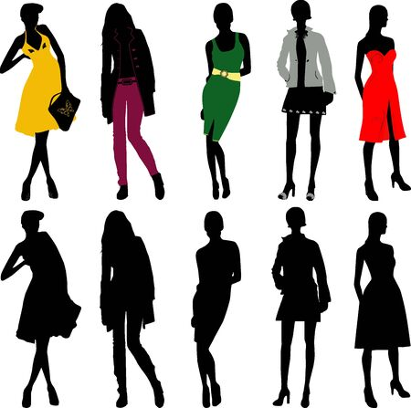 Silhouette fashion girls Stock Vector - 14100052