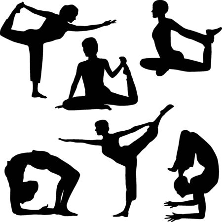 Silhouette of yoga Vector