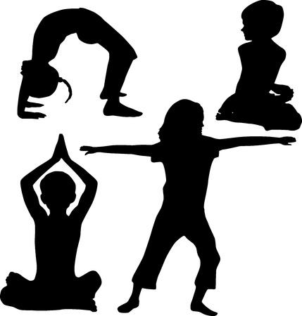 silueta ni�o: Los ni�os del yoga