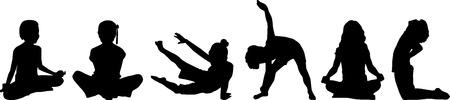 yoga meditation: Silhouette bambino