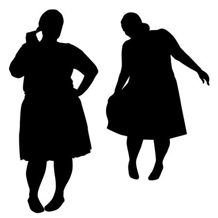 silhouette of women: Silhouettes of fashion XXL women