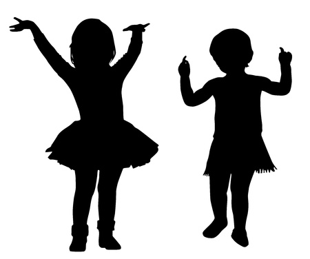 tot: Silhouettes of two small girls