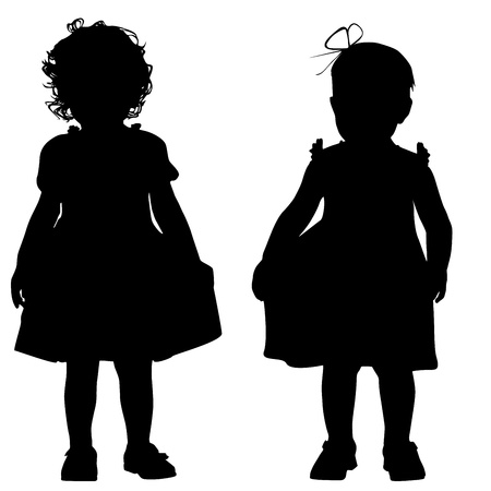 Silhouettes of two small girls Vector