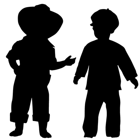 tot: Silhouettes of two small boys