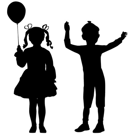 little girl: Silhouettes of happy kids - girl and boy