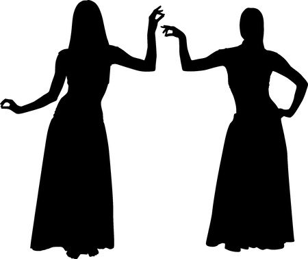 belly dancer: Silhouettes of girls dancing belly Illustration