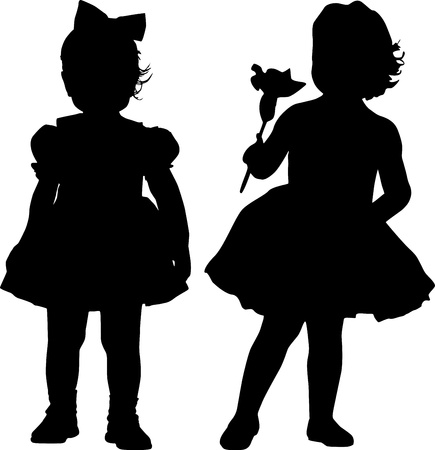 kind silhouet: Silhouetten van twee kleine meisjes