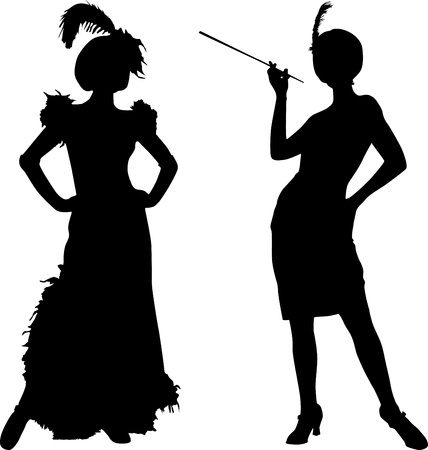 hat with feather: Silhouettes of women with retro costumes from cabaret