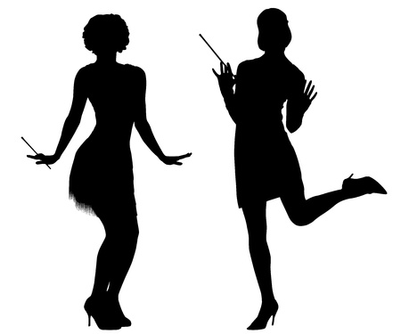 Silhouettes of women with retro costumes from cabaret