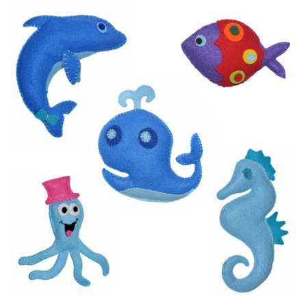 woll: 5 Felt toys sea animals Stock Photo