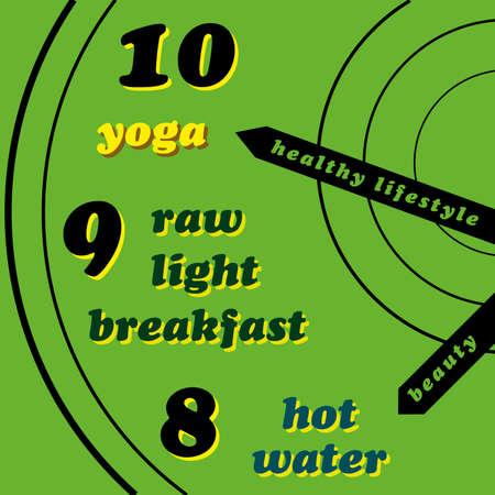norm: Estilo de vida saludable - yoga, desayuno ligero cruda, agua caliente