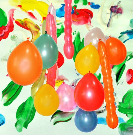 festal: Festal background with multicolor paint and balloons