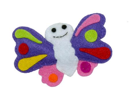 Handmade toy from felt - butterflies Stock Photo