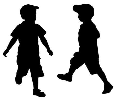 running silhouette: Silhouettes of two little boys who play Illustration