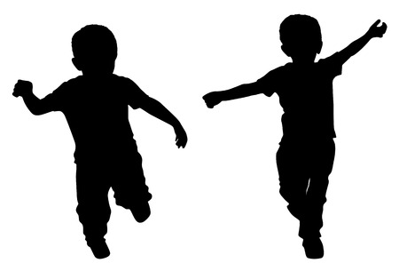 children at play: Silhouettes of two little boys who run Illustration