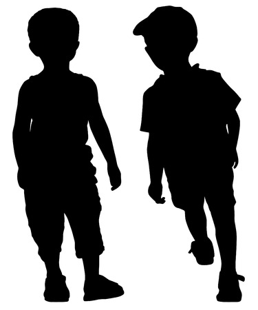 vogue: Silhouettes of two little fashion boys