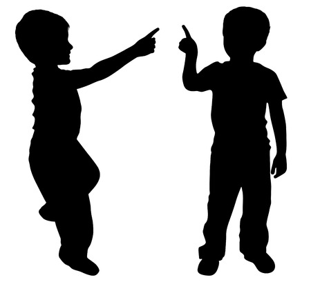 two finger: Silhouettes of two young boys showing something with finger