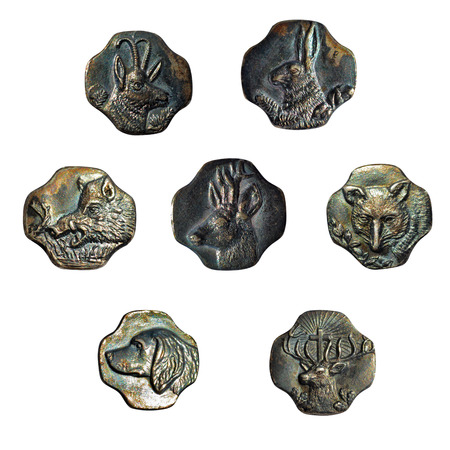 Set of vintage rusty buttons with animals photo