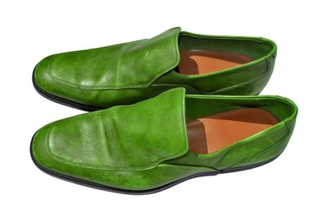 genuine leather: Green genuine leather shoes Stock Photo